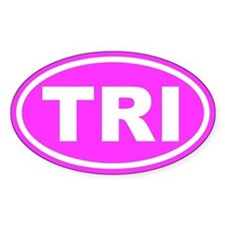 TRI Triathalon Pink Euro Oval Decal