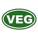 VEG Vegan Green Euro Oval Decal