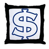 Dollar Sign Blue Throw Pillow