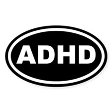 ADHD Black Euro Oval Decal