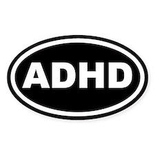 ADHD Black Euro Oval Decal