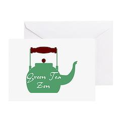 Green Tea Pot Greeting Card