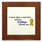 MY FATHERS A HERO/SARCOMA CANCER Framed Tile