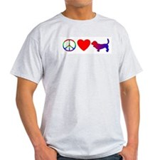 Peace, Love, Basset Hound T-Shirt