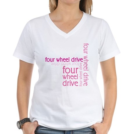 Pink Four Wheel Drive Girl Women's V-Neck T-Shirt