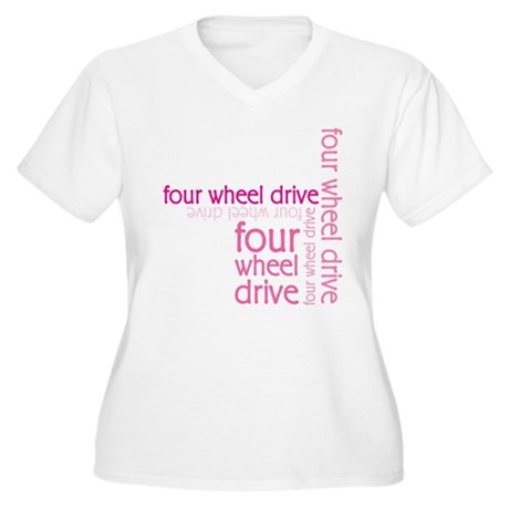 Pink Four Wheel Drive Girl Women's Plus Size V-Nec