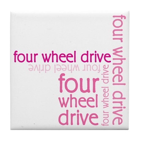 Pink Four Wheel Drive Girl Tile Coaster