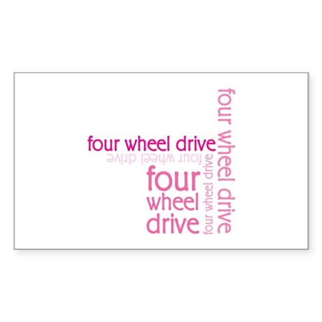 Pink Four Wheel Drive Girl Rectangle Sticker