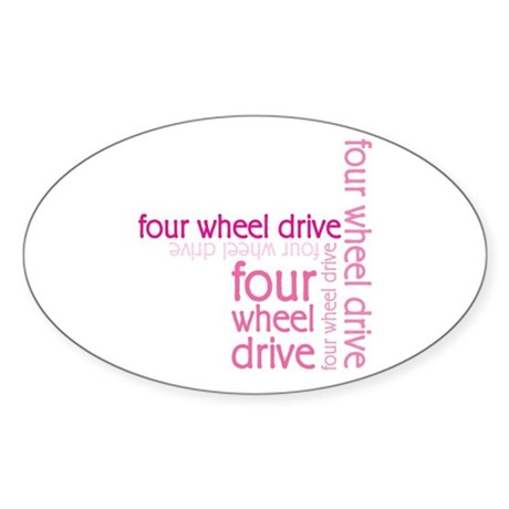 Pink Four Wheel Drive Girl Oval Sticker