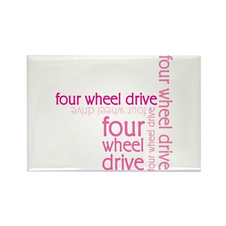Pink Four Wheel Drive Girl Rectangle Magnet