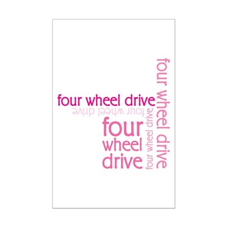 Pink Four Wheel Drive Girl Mini Poster Print
