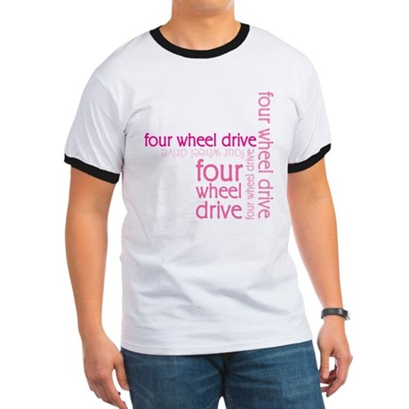 Pink Four Wheel Drive Girl Ringer T