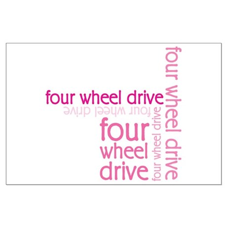 Pink Four Wheel Drive Girl Large Poster