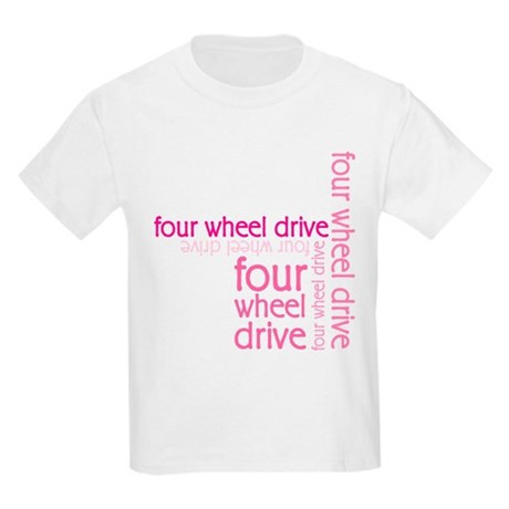 Pink Four Wheel Drive Girl Kids Light T-Shirt