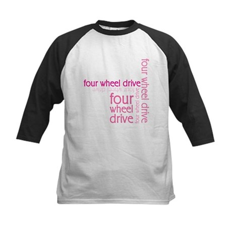 Pink Four Wheel Drive Girl Kids Baseball Jersey