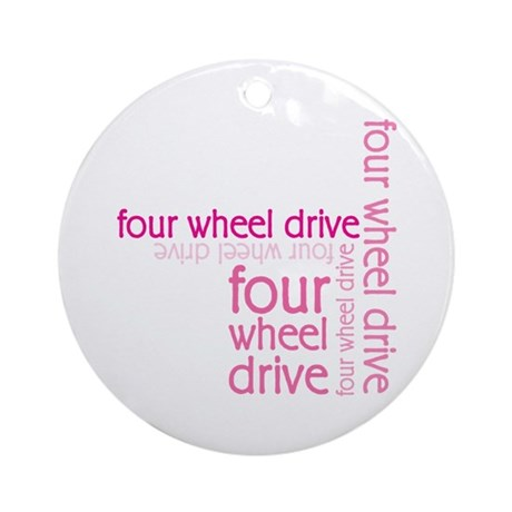 Pink Four Wheel Drive Girl Ornament (Round)