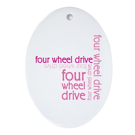Pink Four Wheel Drive Girl Oval Ornament