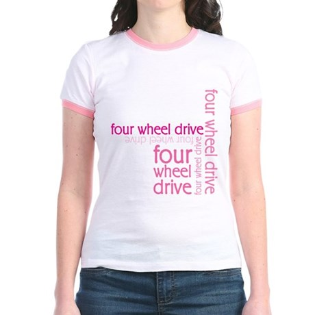 Pink Four Wheel Drive Girl Jr. Ringer T-Shirt