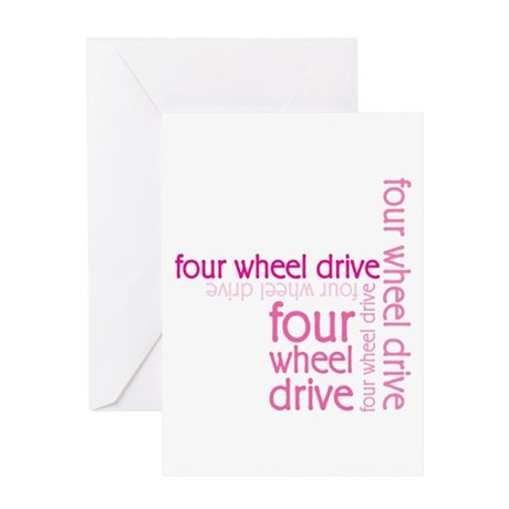 Pink Four Wheel Drive Girl Greeting Card