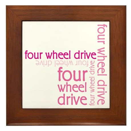Pink Four Wheel Drive Girl Framed Tile