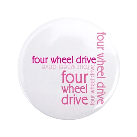 "Pink Four Wheel Drive Girl 3.5"" Button"