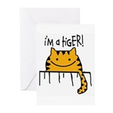 "HAPPY CAT ""I'M A TIGER!"" Greeting Cards (Package o"