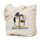 Penguin Wedding - Just Married Tote Bag
