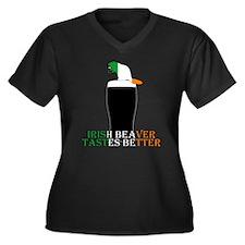 Funny naughty Beaver Women's Plus Size V-Neck Dark