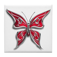 Chrome Red Butterfly Tile Coaster