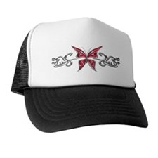 Chrome Red Butterfly Trucker Hat