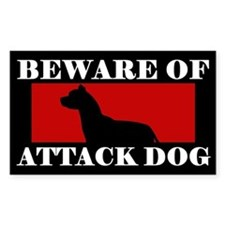 Beware of Attack Dog Pit Bull Decal