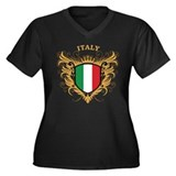 Italy Women's Plus Size V-Neck Dark T-Shirt