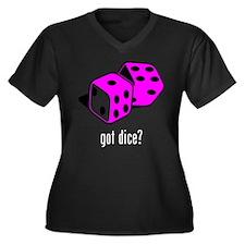 Dice Women's Plus Size V-Neck Dark T-Shirt