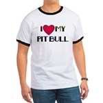 I LOVE MY PIT BULL RED HEART Ringer T