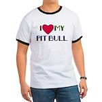 I LOVE MY PIT BULL RED HEART Ringer T