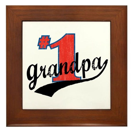 #1 Grandpa Framed Tile