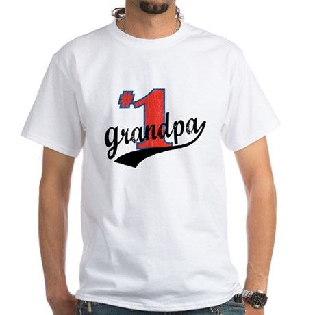 #1 Grandpa White T-Shirt