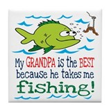 My Dad Takes Me Fishing Tile Coaster