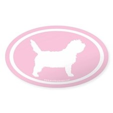 PBGV Dog Oval (white on pink) Oval Decal