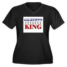 GILBERTO for king Women's Plus Size V-Neck Dark T-