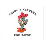 Tacos y Cerveza Small Poster