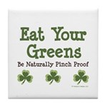 Eat Your Greens Shamrock Tile Coaster