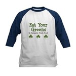 Eat Your Greens Shamrock Kids Baseball Jersey