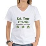 Eat Your Greens Shamrock Women's V-Neck T-Shirt
