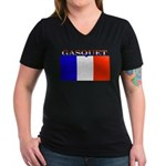 Gasquet France Flag Women's V-Neck Dark T-Shirt