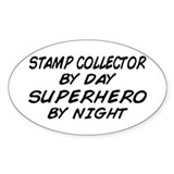 Stamp Collector Superhero Oval Decal