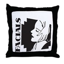 Retro Facials Throw Pillow