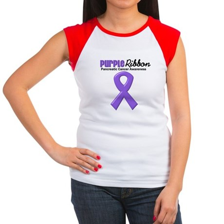 Purple Ribbon Women's Cap Sleeve T-Shirt