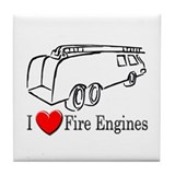 I Love Fire Engines Tile Coaster