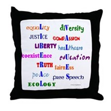 Liberal Values Throw Pillow